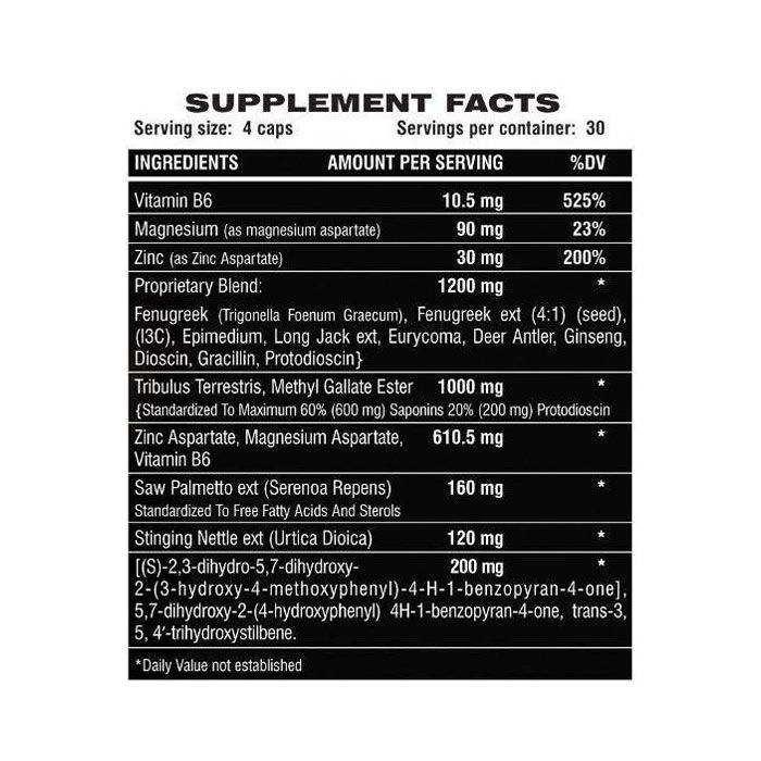 Testosterone Booster Muscle Growth Supplement Facts