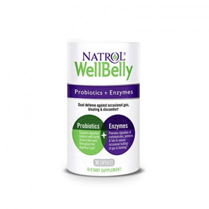 Natrol WellBelly Probiotic & Enzymes 30cp BBY 2/20