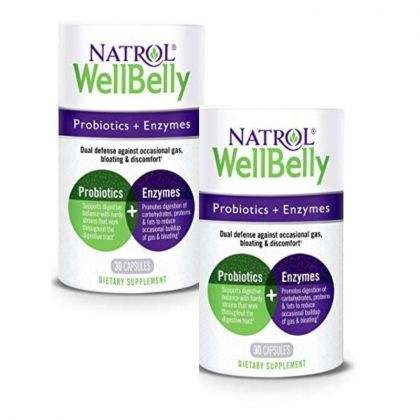 Natrol WellBelly Probiotic & Enzymes 30cp x2 BBY 2/20