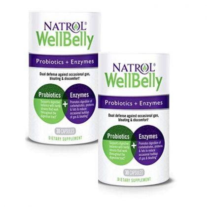 Natrol WellBelly Probiotic & Enzymes 30cp x2